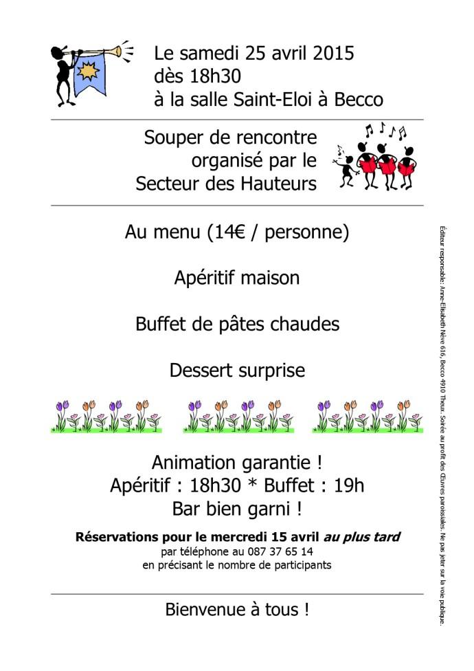 Invitation au souper des Hauteurs 2015