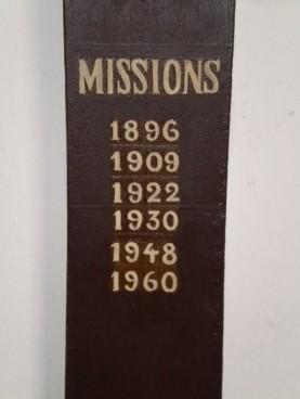 Les dates des missions prêchées en cette église
