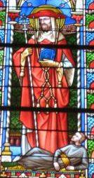 Saint Charles Borromée, reconnaissable à son chapeau de cardinal