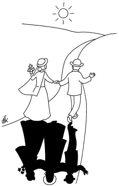 dans cette belle aventure qu'est le mariage, Dieu apporte sa part : ce qui semble impossible à vue humaine, avec nos seules forces, avec notre amour humain, trop humain, il le rend possible